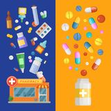 Vector medicines vertical banner templates with medicines and pills spreading out of pharmacy and bottle. Pharmacy and drug in bottle banner, medication and Royalty Free Stock Photos