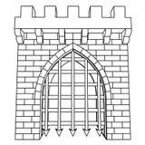 Dibujo medieval aislado o colorante del vector de la puerta Imagen de archivo libre de regalías