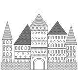 Vector medieval de la torre Fortaleza del libro de colorear stock de ilustración