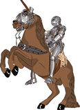 Vector medieval knight in armor on horseback. Vector medieval knight in steel armor with a spear on horseback Stock Photography