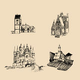 Vector medieval landscapes illustrations set. Hand drawn sketches of church, abbey, castle etc in fields and hills Royalty Free Stock Photos