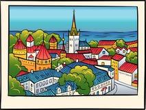 Vector Medieval Old Town, Tallinn, Estonia Royalty Free Stock Photo