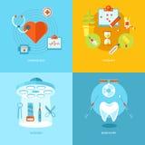 Vector medische die en gezondheidspictogrammen voor Webontwerp worden geplaatst, mobiele apps Royalty-vrije Stock Foto's