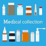 Vector medische flesseninzameling Minimale vlakke illustratie Geneeskundereeks Stock Afbeeldingen