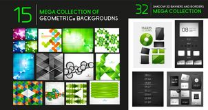 Vector mega collection of geometric abstract backgrounds and dividers Royalty Free Stock Photography