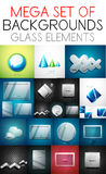 Vector mega collection of glass elements Stock Image