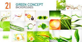 Vector mega collection of green shiny waves, swirls, flowing shapes abstract backgrounds and banners. Design elements for web banner, advertising presentation Royalty Free Stock Photos