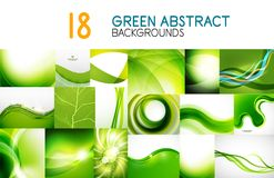 Vector mega collection of green shiny waves, swirls, flowing shapes abstract backgrounds and banners. Design elements for web banner, advertising presentation Stock Photo
