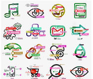 Vector mega collection of line and sticker Stock Images