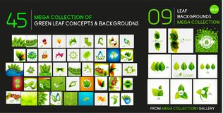 Vector mega collection of nature and ecology backgrounds - grass, leaves, plants and trees Stock Image