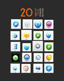 Vector mega set of abstract power buttons. 20 design elements stock illustration