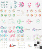 Vector mega set of linear stamp logos Stock Photography