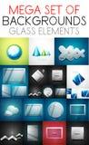 Vector megainzameling van glaselementen Stock Afbeelding
