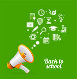 Vector Megaphone and icon. Back to school concept vector illustration