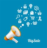 Vector Megaphone and icon. Big sale concept Stock Photography