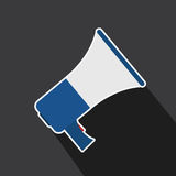 Vector of megaphone in long shadow style Royalty Free Stock Photo