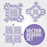 Vector mehendi set. Vintage ornament design collection with floral texture. EPS 10  pattern set in oriental style. mehendi henna tattoo Royalty Free Stock Photos