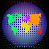 Vector Mehrfarbenweltkarte mit Kontinenten auf der Kugel auf einem tiefen dunklen Hintergrund Lizenzfreies Stockfoto