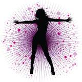 Vector meisje dat in night-club danst Stock Afbeelding