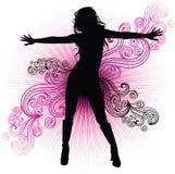 Vector meisje dat in night-club danst Royalty-vrije Stock Foto