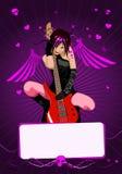 Vector meisje met gitaar en exemplaar-ruimte stock illustratie