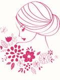 Vector meisje Mooi vrouwelijk gezicht met bloemen Royalty-vrije Stock Foto's