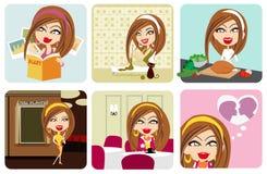 Vector meisjesactiviteit Royalty-vrije Stock Foto's