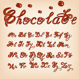 Vector melted chocolate alphabet. Shiny, glazed letters, liquid. Font style. Glossy typescript design. Royalty Free Stock Photos