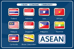 Vector : Member of Asean economic community. Design on Aug 2015 vector illustration