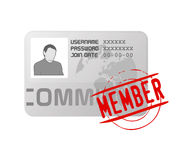Vector membership profile card icon. Vectored illustration of identity card for web sites and communities with registered members, useful icon for networks Royalty Free Stock Photography