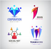 Vector men group logo, human, family, teamwork, social net, leader icon. Community, people sign in modern style. Stock Images