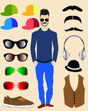 Vector men head character Royalty Free Stock Photo