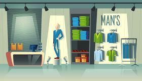 Vector men s clothing shop, male fashion boutique. Vector mans clothing shop - wardrobe with suits, cartoon mannequin in costume and stuff on hangers. Cashbox stock illustration