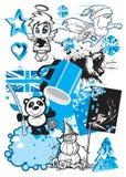 Vector Mengeling van zwart & blauw ontwerp Stock Foto