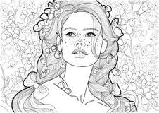 Vector a menina bonita colorindo com as tranças na florescência e nas cerejas maduras ilustração royalty free