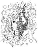 Vector a menina do zentangl da ilustração com shell no oceano Pena de desenho da garatuja Página da coloração para o anti-esforço Fotos de Stock Royalty Free