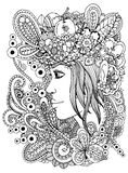 Vector a menina do zentangl da ilustração no quadro floral Desenho da garatuja Exercício meditativo Anti esforço do livro para co Imagem de Stock Royalty Free