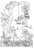 Vector a menina do zentangl da ilustração que senta-se perto de uma árvore Floresça o frame Desenho da garatuja Exercícios medita Foto de Stock