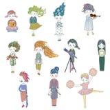 Vector a menina feliz do caráter da ilustração no estilo dos desenhos animados da garatuja ilustração royalty free