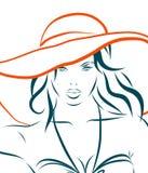 Vector a menina no biquini e no chapéu em um branco ilustração royalty free