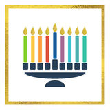 Vector menorah with bright candles Stock Images