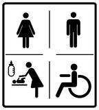 Vector mens and womens disabled restroom signage set - men, boy, women printable restroom, toilette signs. Vector illustration of mens and womens disabled Stock Photography