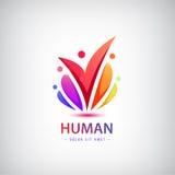 Vector menselijk embleem, groeps mensen kleurrijk pictogram, groepswerk Stock Foto's