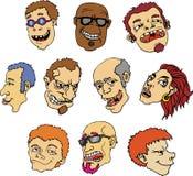 Vector menselijke gezichten Stock Foto's