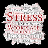 Vector mental stress at workplace job pressure. Vector conceptual mental stress at workplace or job pressure paint brush or paper word cloud isolated background Stock Image
