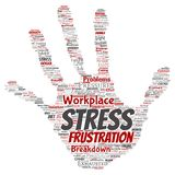 Vector mental stress at workplace job pressure human. Vector conceptual mental stress at workplace or job pressure human hand print stamp word cloud isolated Royalty Free Stock Photo
