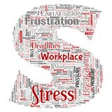 Vector mental stress at workplace job pressure human. Vector conceptual mental stress at workplace or job pressure human letter font S word cloud isolated Royalty Free Stock Images