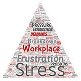 Vector mental stress at workplace job pressure human. Vector conceptual mental stress at workplace or job pressure human triangle arrow word cloud isolated Stock Photography
