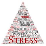 Vector mental stress at workplace job pressure human. Vector conceptual mental stress at workplace or job pressure human triangle arrow word cloud isolated Stock Image