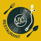 Restaurant menu with record player and cutlery royalty free illustration
